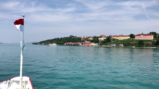 meersburg seen from the boat, germany. - baden wurttemberg stock videos and b-roll footage