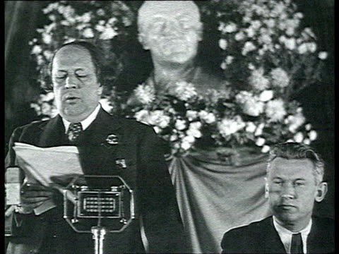 Meeting against persecution of Jews in nazi Germany antifascist speech of Soviet writer Aleksey Tolstoy Lenin's bust in background / Russia / AUDIO