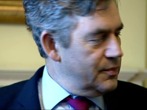meeting between gordon brown and fifa president sepp blatter england london downing street int gordon brown mp chatting to sepp blatter and greeting... - soccer glove stock videos and b-roll footage