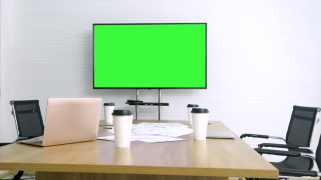 meeting room with green screen tv - accessibility stock videos & royalty-free footage