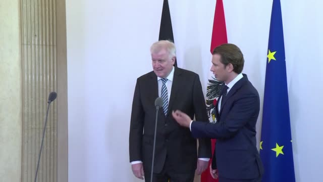 A meeting takes place between Sebastian Kurz Austrian Chancellor and Horst Seehofer the German Minister of the Interior and Leader of the Christian...