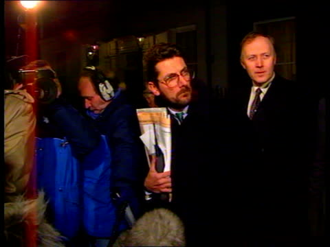 pm meeting with mep's england london westminster downing st ms douglas hurd mp sir christopher prout walk out towards followed by other conservative... - mep stock-videos und b-roll-filmmaterial