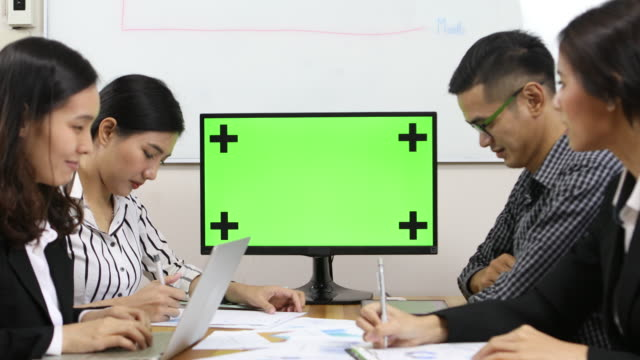 meeting with tv green screen - administrator stock videos and b-roll footage