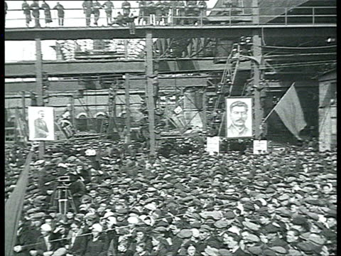 meetings in factories election propaganda for stalin and supreme soviet members portraits of molotov and other leaders / russia / audio - vyacheslav m. molotov stock videos and b-roll footage