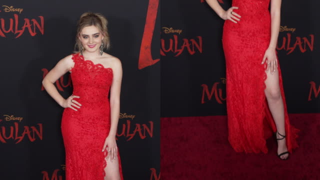 meg donnelly at the world premiere of disney's mulan - gif stock videos & royalty-free footage