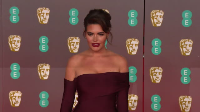 megan barton hanson reality tv star on red carpet at bafta film awards 2020 - reality tv stock videos & royalty-free footage