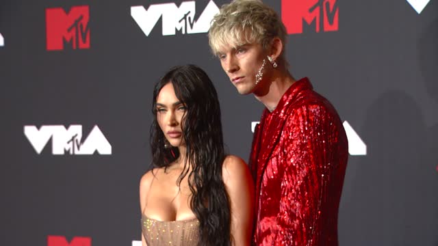 megan fox and machine gun kellyarrive at the 2021 mtv video music awards at barclays center on september 12, 2021 in the brooklyn borough of new... - mtv video music awards stock videos & royalty-free footage