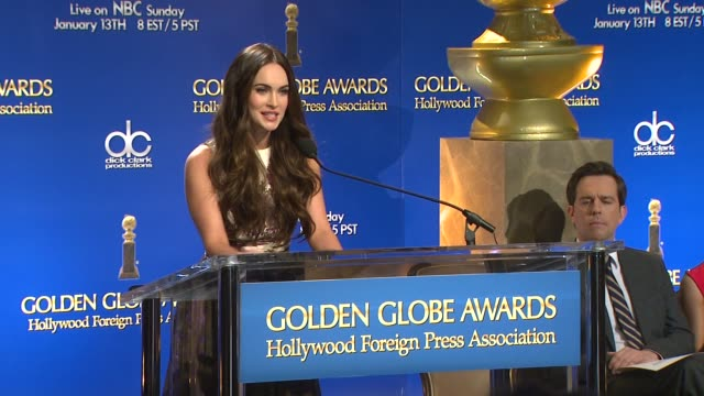 megan fox announces the 70th annual golden globe awards nominees at the 70th annual golden globe awards nominations announcement 12/11/12 beverly... - nomination stock videos & royalty-free footage