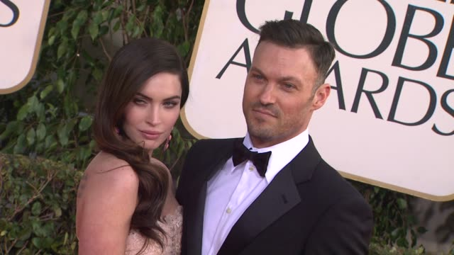 megan fox brian austin green at 70th annual golden globe awards arrivals 1/13/2013 in beverly hills ca - megan fox stock videos and b-roll footage