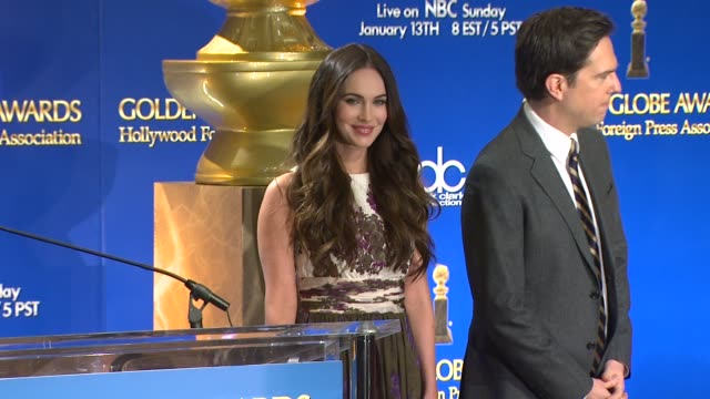 megan fox ed helms at the 70th annual golden globe awards nominations announcement 12/11/12 beverly hills ca - megan fox stock videos and b-roll footage