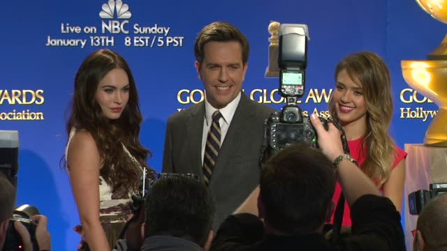 megan fox ed helms jessica alba at the 70th annual golden globe awards nominations announcement 12/11/12 beverly hills ca - megan fox stock videos and b-roll footage