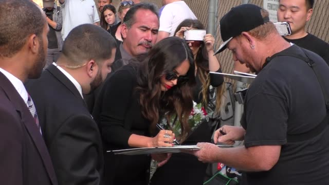 megan fox greets fans as she leaves jimmy kimmel live in hollywood in celebrity sightings in los angeles - megan fox stock videos and b-roll footage
