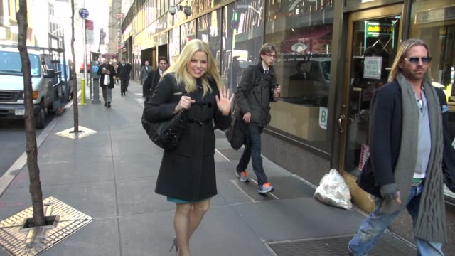 megan hilty arrives at the today show 02/27/12 in celebrity sightings in new york - megan hilty stock videos & royalty-free footage
