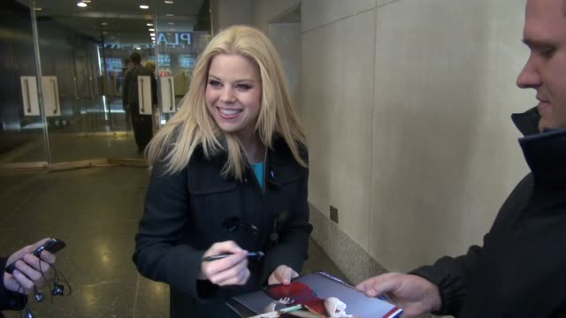 megan hilty exits the today show 02/27/12 in celebrity sightings in new york - megan hilty stock videos & royalty-free footage