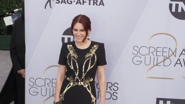 megan mullally at 25th annual screen actors guild awards at the shrine auditorium on january 27 2019 in los angeles california - screen actors guild awards stock videos & royalty-free footage