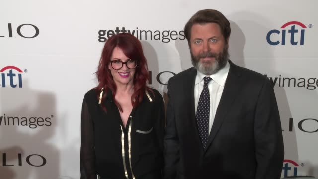 megan mullally nick offerman at 2016 clio awards at american museum of natural history on september 28 2016 in new york city - megan mullally stock videos and b-roll footage
