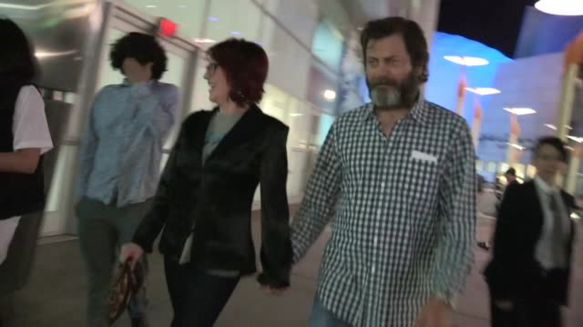 megan mullally nick offerman at the kings of summer premiere in hollywood 05/28/13 - megan mullally stock videos and b-roll footage