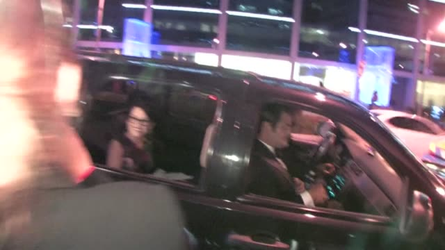 megan mullally thomas lennon leaving jimmy fallon's emmy after party 2011 at trousdale in west hollywood - jimmy fallon stock videos and b-roll footage