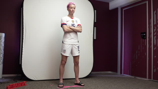 megan rapinoe at fifa womens world cup france 2019 team arrival meeting and portrait session on june 08, 2019 in reims, . - fifa stock videos & royalty-free footage