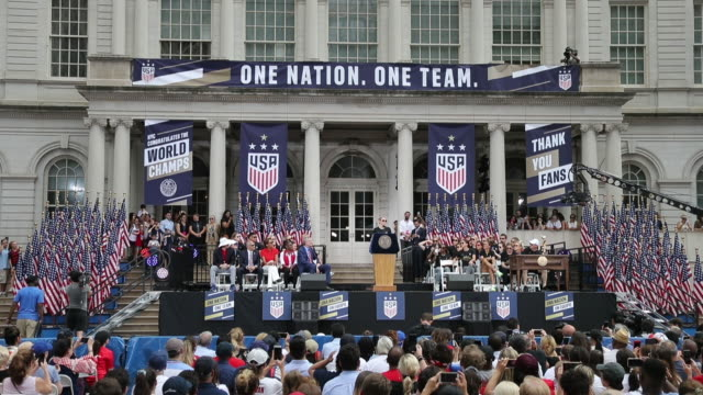 megan rapinoe at the u.s. women's national soccer team victory parade and city hall ceremony on july 10, 2019 in new york city. - fifa world cup stock videos & royalty-free footage