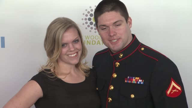 megan waters and lance cpl michael martinez us marine corps at the 6th annual stand up for heroes presented by the new york comedy festival and the... - beacon theatre stock videos and b-roll footage