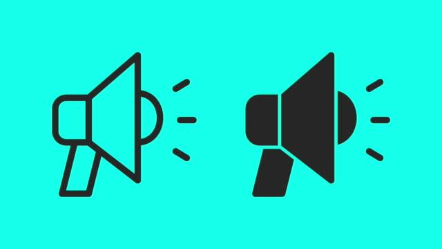 megaphone - vector animate - simbolo video stock e b–roll