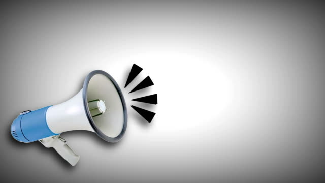 megaphone video animation. attention,news,opening. - simbolo video stock e b–roll