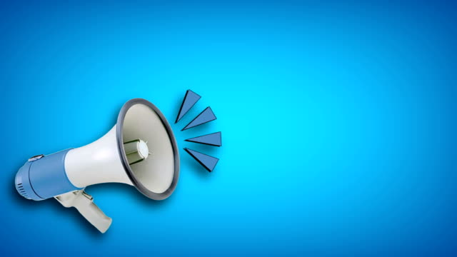 megaphone video animation on blue background. attention,news,opening. - announcement message stock videos & royalty-free footage