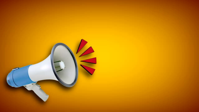 megaphone video animation on yellow background. attention,news,opening. - megaphone stock videos & royalty-free footage