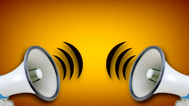 megaphone video animation on yellow background. attention,news,opening. - announcement message stock videos & royalty-free footage