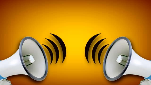 stockvideo's en b-roll-footage met megafoon videoanimatie op gele achtergrond. aandacht, nieuws, openen. - aankondigingsbericht