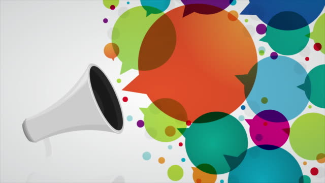 megaphone with colourful speech bubbles - selling stock videos and b-roll footage