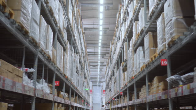 megastore/warehouse with packages,4kdci - megastore stock videos & royalty-free footage