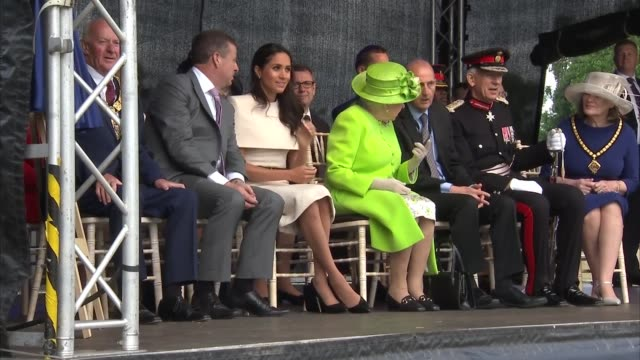 Meghan Duchess of Sussex arrival at Runcorn station / Mersey Gateway Bridge opening ceremony UK Cheshire Widnes Queen Elizabeth and Meghan Duchess of...