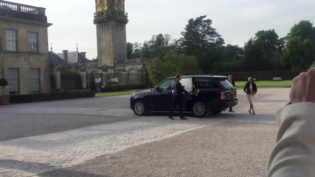 meghan markle and her mother, doria ragland, arriving at cliveden house hotel on the national trust's cliveden estate to spend the night before her... - national trust video stock e b–roll