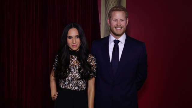 meghan markle and prince harry wax figure at madame tussauds new york reveals meghan markle figure at madame tussauds on may 09 2018 in new york city - wax stock videos & royalty-free footage
