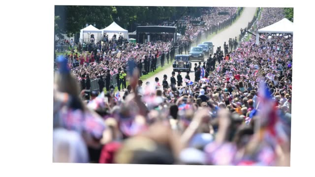 meghan markle is greeted by crowds as she arrives at windsor castle ahead of her wedding to prince harry on may 19 2018 in windsor england - königliche hochzeit stock-videos und b-roll-filmmaterial
