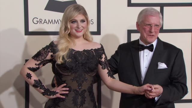 meghan trainor and gary trainor at the 57th annual grammy awards red carpet at staples center on february 08 2015 in los angeles california - meghan trainor stock videos & royalty-free footage