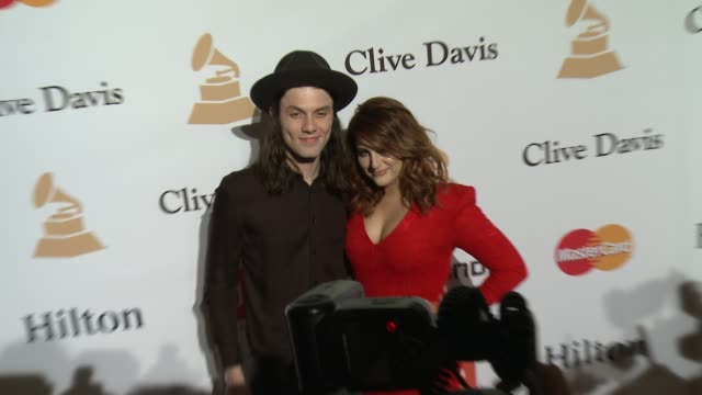 meghan trainor and james bay at the 2016 pregrammy gala and salute to industry icons honoring irving azoff at the beverly hilton hotel on february 14... - meghan trainor stock videos & royalty-free footage