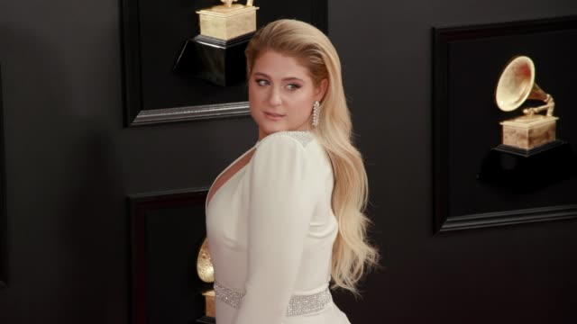 meghan trainor at the 61st grammy awards arrivals at staples center on february 10 2019 in los angeles california – editorial - editorial bildbanksvideor och videomaterial från bakom kulisserna