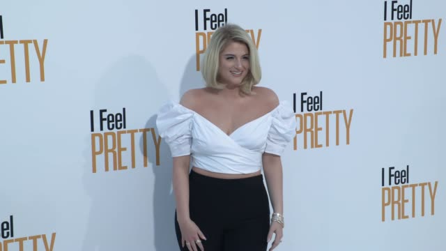 meghan trainor at the i feel pretty world premiere at westwood village theatre on april 17 2018 in westwood california - meghan trainor stock videos & royalty-free footage