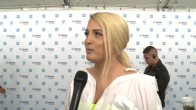 interview meghan trainor on the we charity beneficiaries and all the good that comes from we day at the we day california celebrates 16000 youth... - meghan trainor stock videos & royalty-free footage