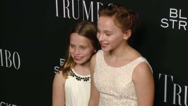 meghan wolfe and madison wolfe at the trumbo los angeles premiere at the academy of motion picture arts and sciences on october 27 2015 in beverly... - academy of motion picture arts and sciences stock-videos und b-roll-filmmaterial