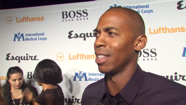 mehcad brooks on tonight's event, on what he's looking forward to seeing in the esquire house, and on what every bachelor pad should have at the... - 独身男性点の映像素材/bロール