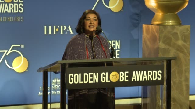 meher tatna announces the presenters at the 75th annual golden globe award nominations at the beverly hilton hotel on december 11, 2017 in beverly... - the beverly hilton hotel stock videos & royalty-free footage