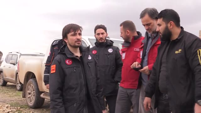 Mehmet Gulluoglu the head of Turkey's Disaster and Emergency Management Authority and Ibrahim Altan head of the Turkish Red Crescent Society visit...