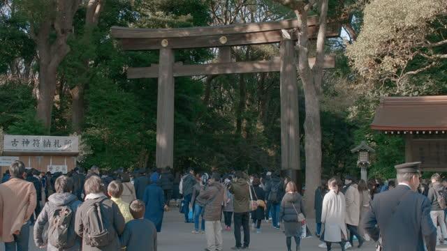 meiji jingu temple entrance gate torii - shinto shrine stock videos & royalty-free footage