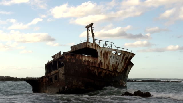 ms meisho maru 38/  trawler  shipwrecked in 1982 / cape agulhas/ western cape/ south africa - imperfection stock videos & royalty-free footage