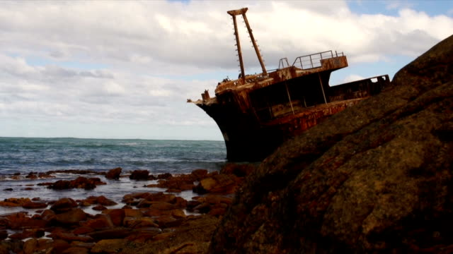 ms meisho maru 38/  trawler shipwrecked in 1982/ cape agulhas/ western cape/ south africa - imperfection stock videos & royalty-free footage