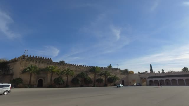 meknes - panoramic view of walls of imperial palace dar el-makhzen - pjphoto69 stock videos & royalty-free footage